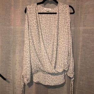 Leopard print cold shoulder top